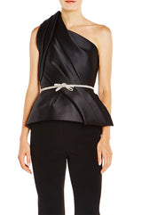 Stretch Mikado Draped Peplum Top - moniquelhuillier