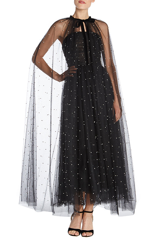 Pearl Embellished Tulle Cape - moniquelhuillier