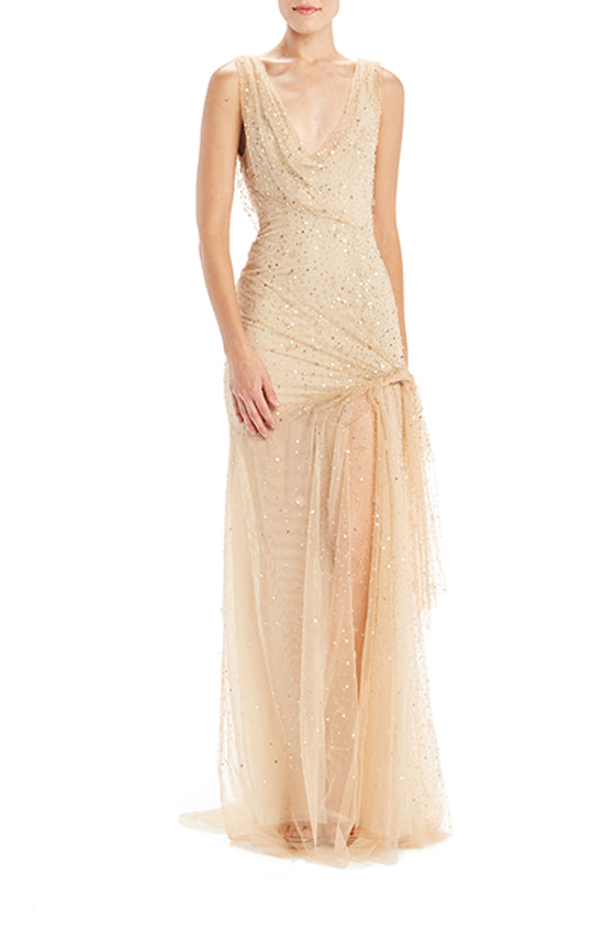 Embroidered Draped Gown - moniquelhuillier