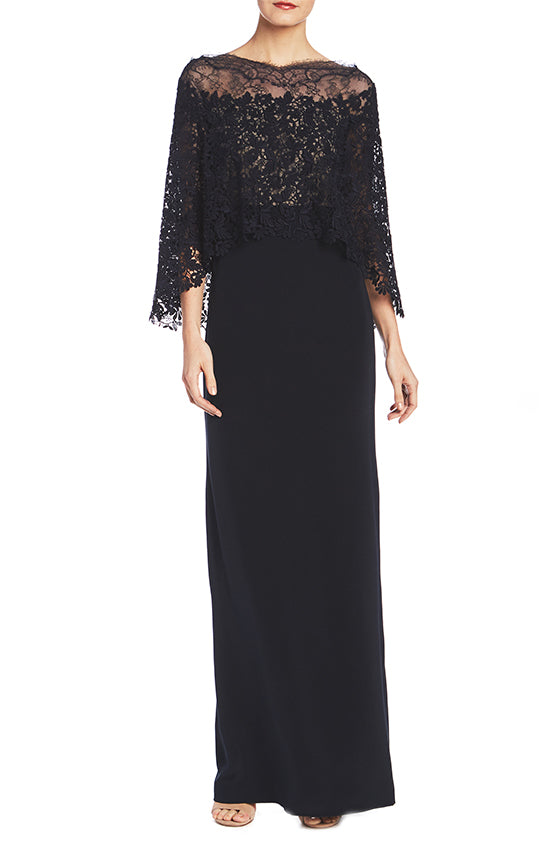 3/4 Sleeve Midnight Column Gown- FINAL SALE - moniquelhuillier