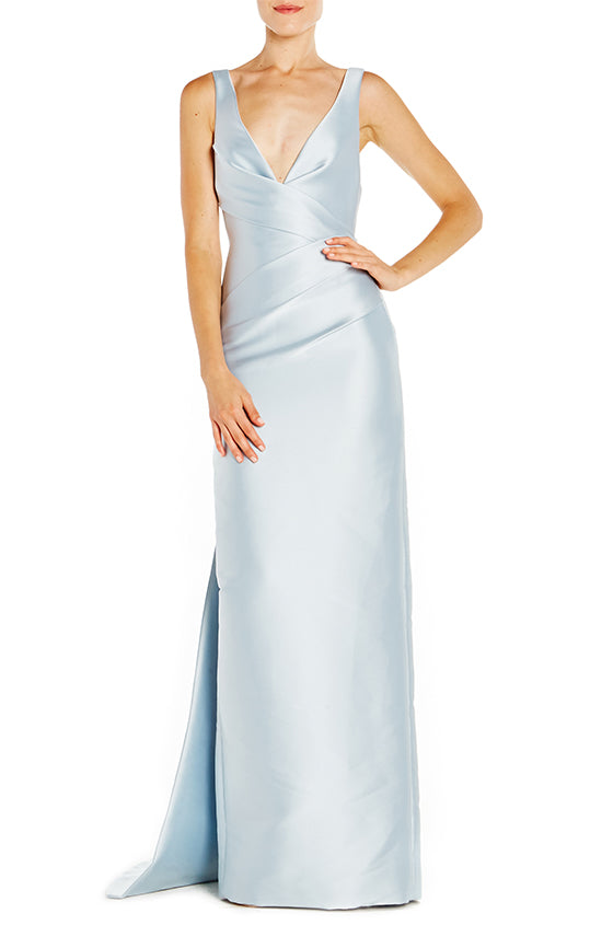 V-Neck Column Gown With Train - moniquelhuillier
