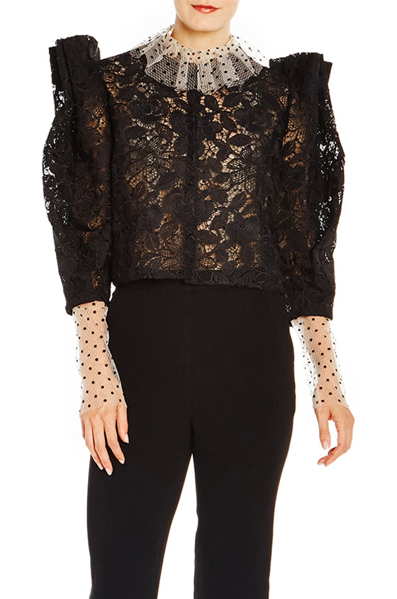 Lace Statement Shoulder Jacket - moniquelhuillier
