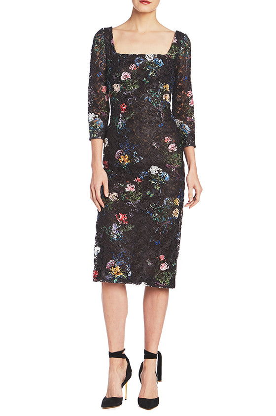 Printed Lace Sheath Dress - moniquelhuillier