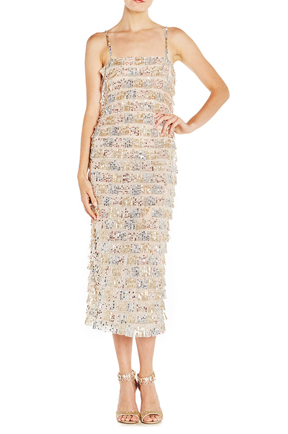Tiered Midi Column Dress - moniquelhuillier