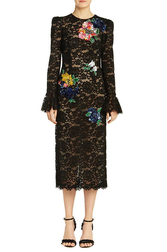 Lace Multi-Color Embroidered Dress - moniquelhuillier