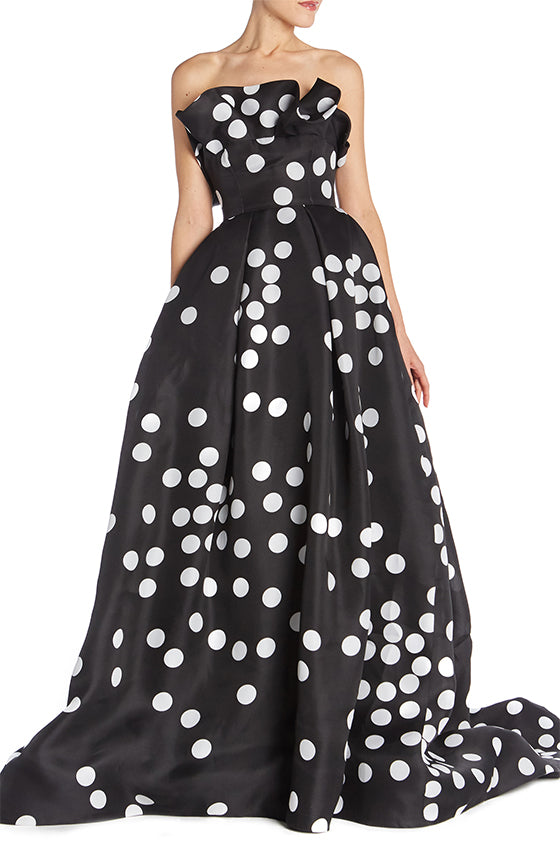 Ruffle Neckline Abstract Dot Gown - moniquelhuillier
