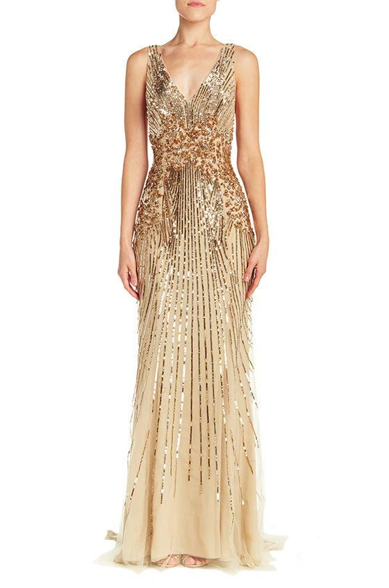 Embroidered V-Neck Racer Back Gown - moniquelhuillier