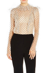 Dotted Tulle Blouse With Ruffles - moniquelhuillier