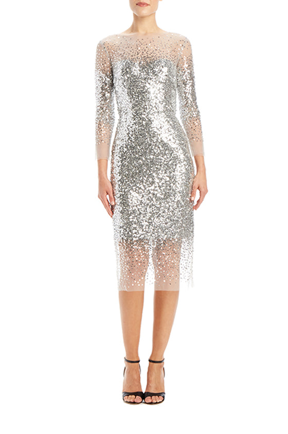 Embroidered Illusion Cocktail Dress - moniquelhuillier