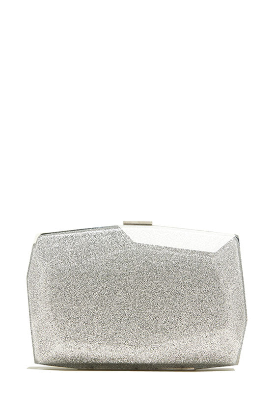 silver lucite faceted glitter clutch