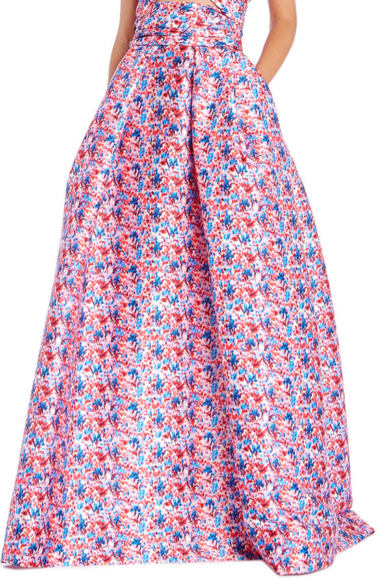 Pink Floral Skirt Monique Lhuillier