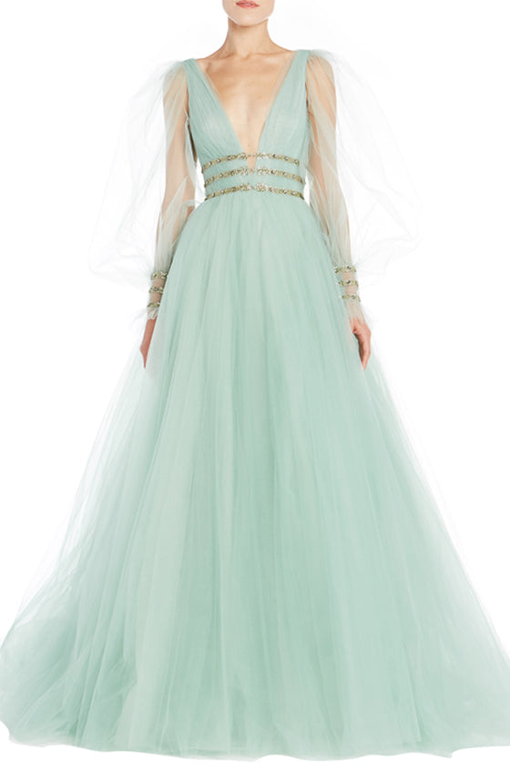 Seafoam V-Neck Ball Gown