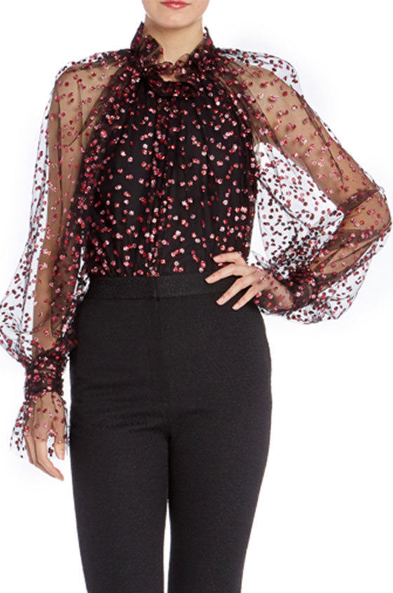 Long Sleeve Glitter Blouse- FINAL SALE