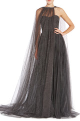 Black Tulle Cape Monique Lhuillier