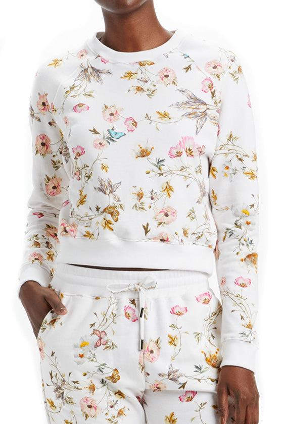 Floral Printed Cropped Sweatshirt