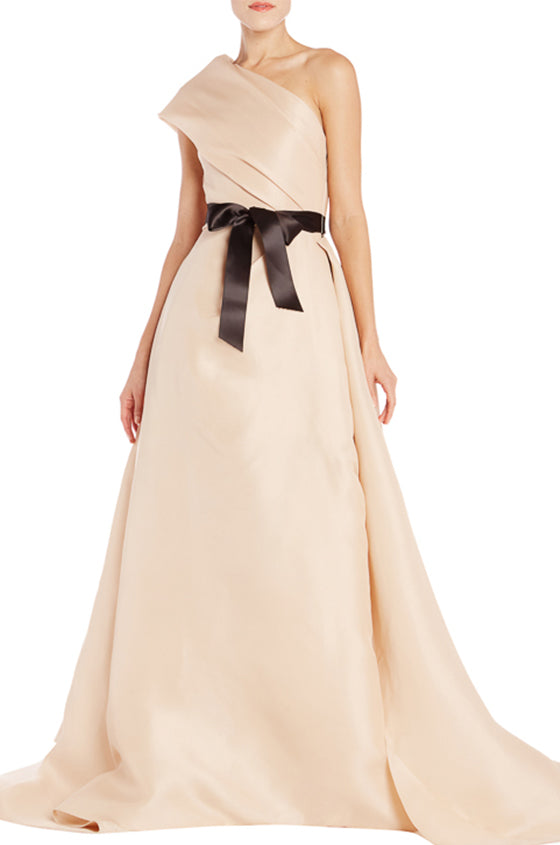 Draped One Shoulder Nude Gown