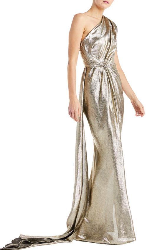 One shoulder gold evening gown monique lhuillier