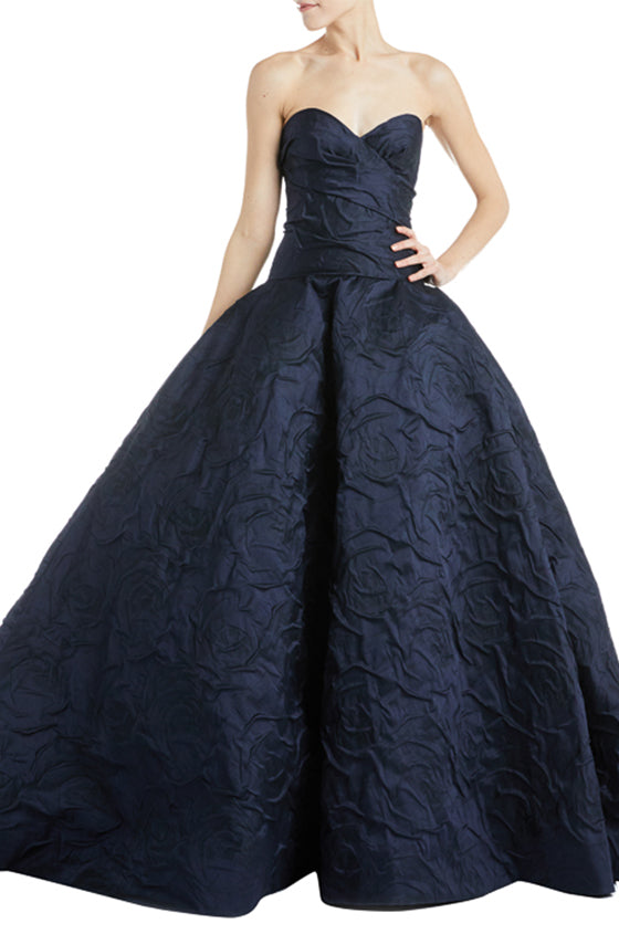 Navy Draped Ball Gown
