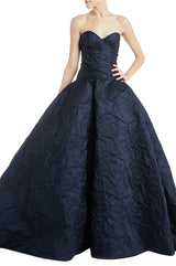 Navy Strapless Ball Gown Monique Lhuillier
