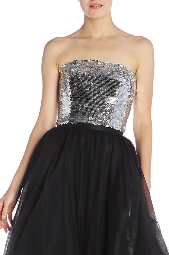 Chrome Sequin Strapless Bodice- FINAL SALE
