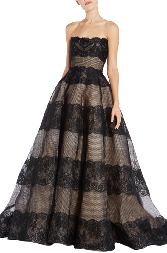 Black Lace Ball Gown Monique Lhuillier