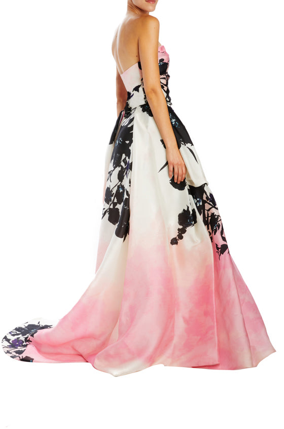 strapless floral ball gown with hidden back zipper