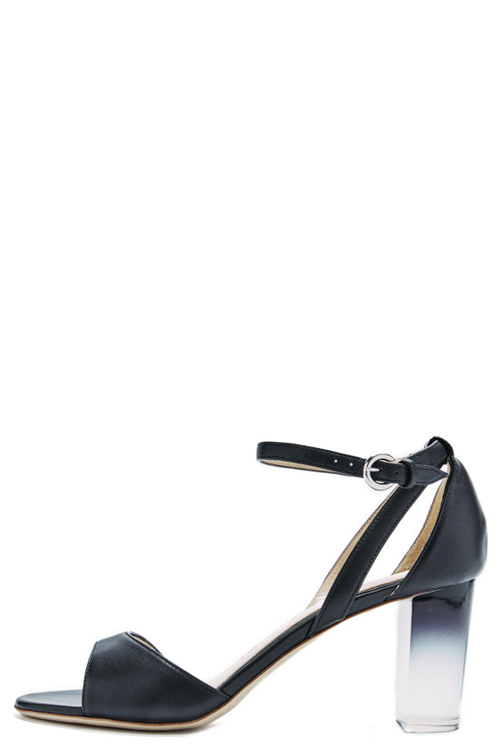 black leather sandal with lucite heel