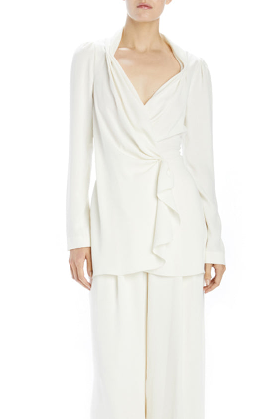 Ivory crepe draped jacket