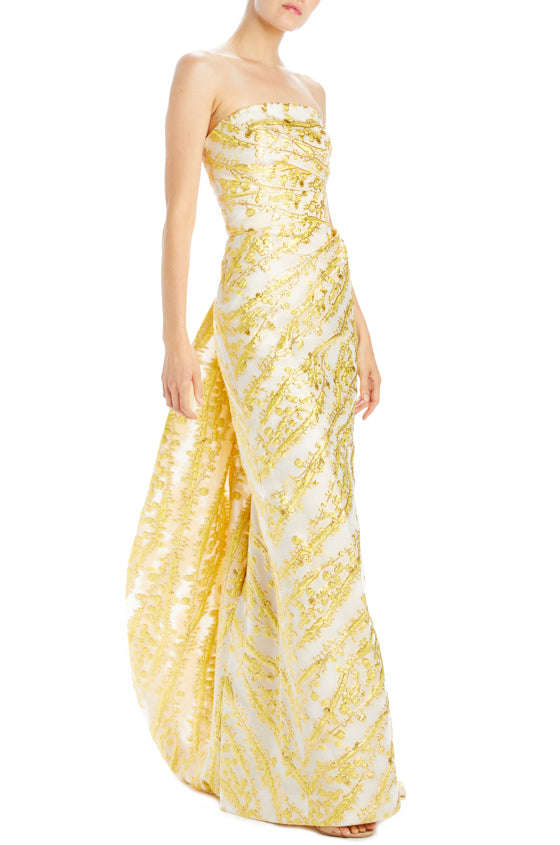 Mimosa Jacquard strapless column gown with wrap around train