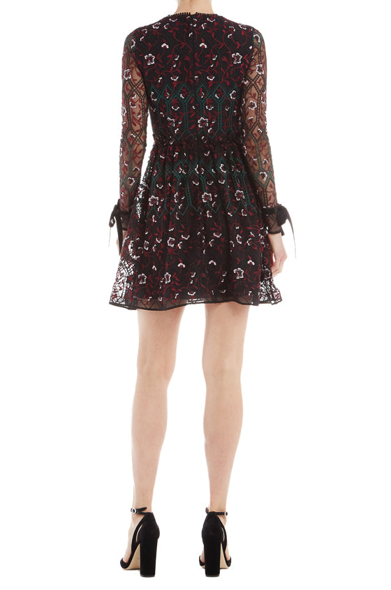 ML Monique Lhuillier Long Sleeve Embroidered Dress