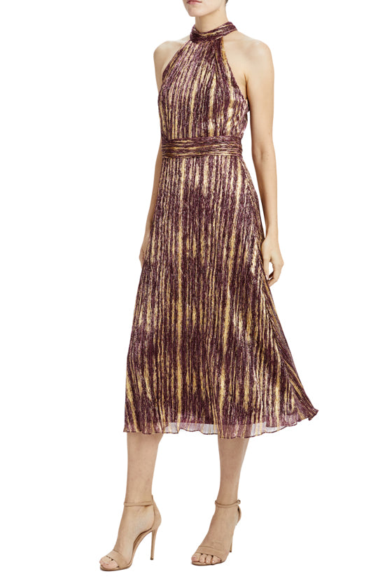 sleeveless midi dress with ruched waist and neckline Resort 2020