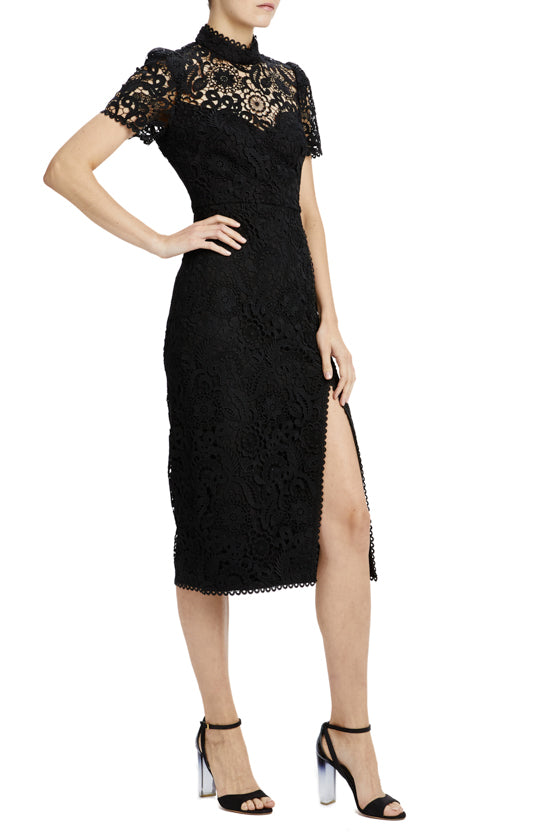 mlml short sleeve lace midi dress with slit