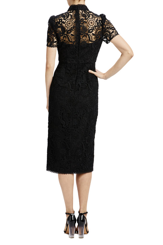 Jet lace midi dress with slit and high neck