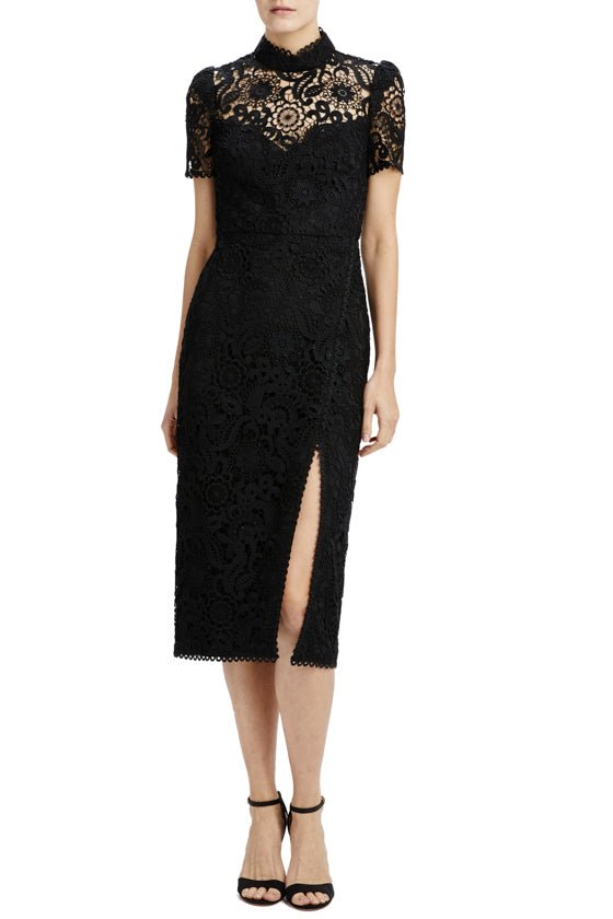black lace fitted midi dress with front slit