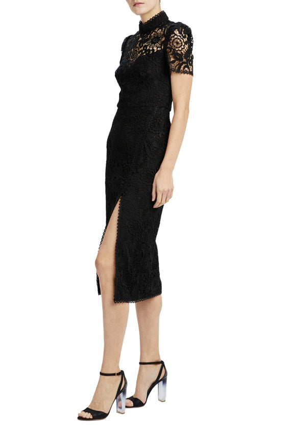 black lace fitted dress with high neck detail