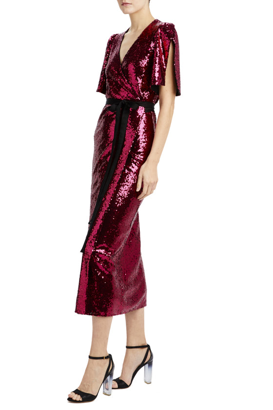 magenta sequin midi wrap dress