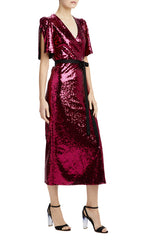 Magenta sequin midi v-neck dress