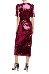 Resort 2020 MLML sequin wrap dress with statement shoulders