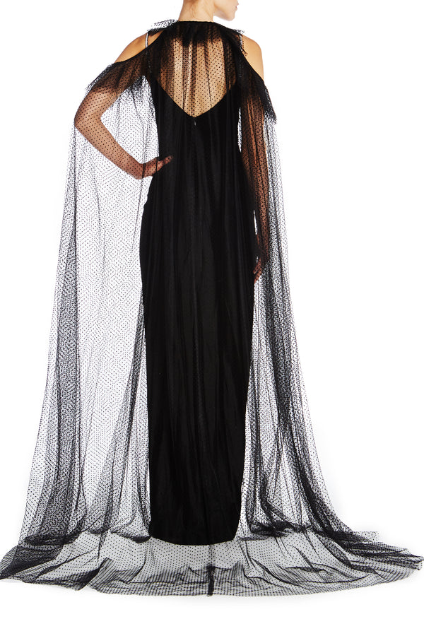 Flocked Dot Tulle Cape-FINAL SALE