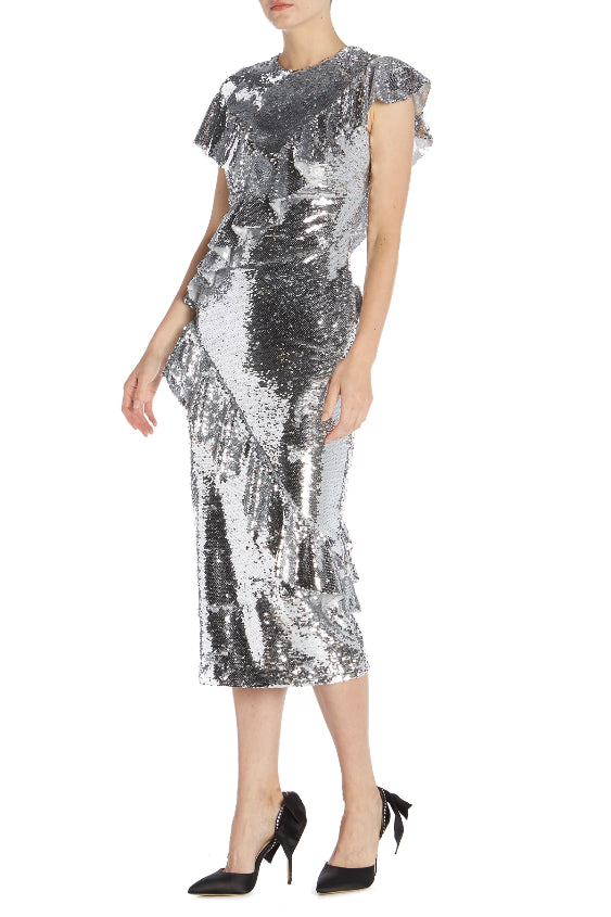 Asymmetrical Neckline Sequin Dress - monique lhuillier