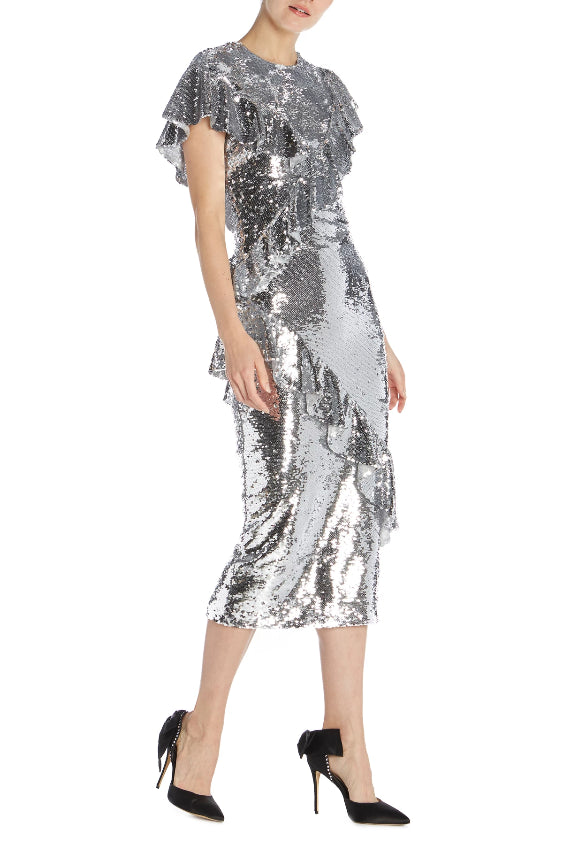 Asymmetrical Neckline Sequin Dress - moniquelhuillier