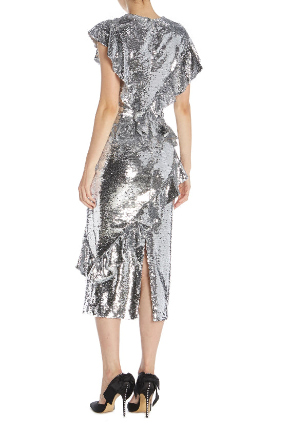 Monique Lhuillier Silver Midi Dress
