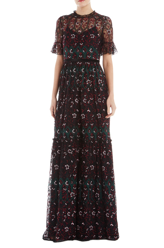 ML Monique Lhuillier Short Sleeve Embroidered Dress