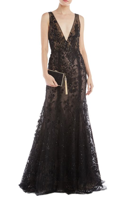 Black Embroidered Evening Gown