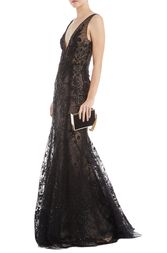 Monique Lhuillier Embroidered Evening Gown
