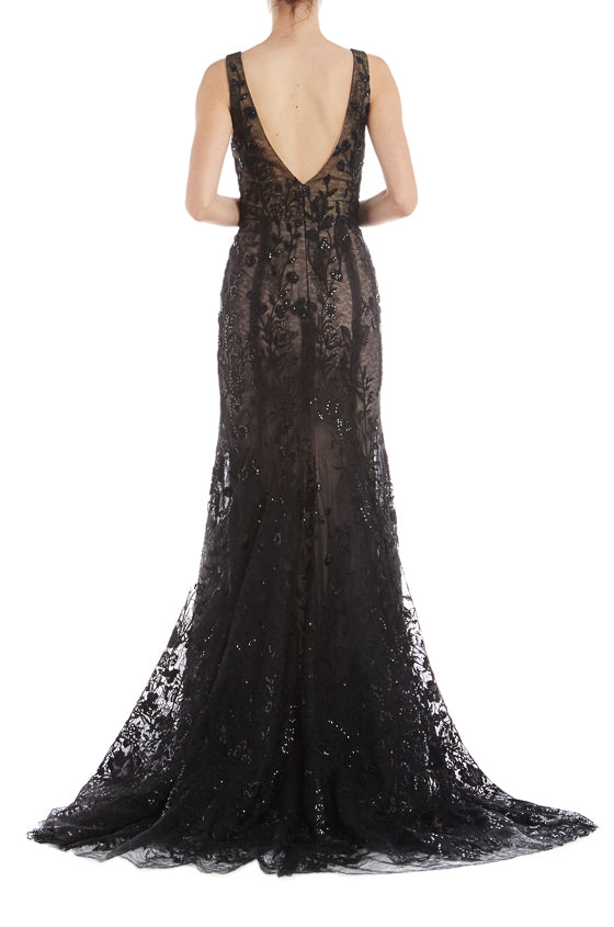 V Neck Gown Monique Lhuillier