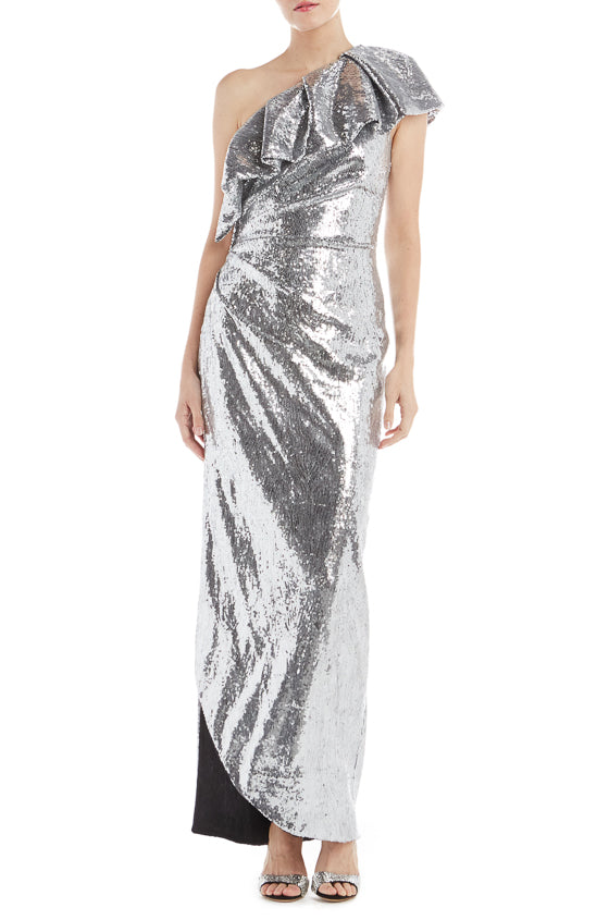 One Shoulder Ruffle Sequin Gown