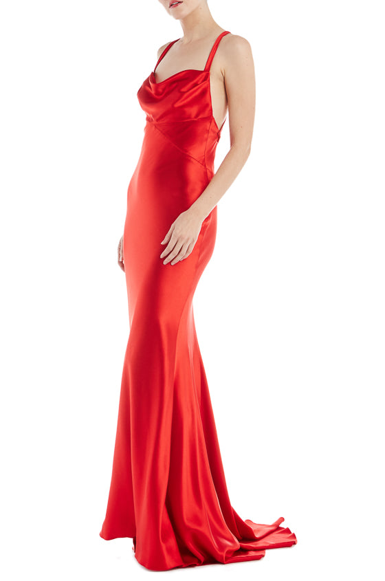 Cowl Neck Sheath Gown