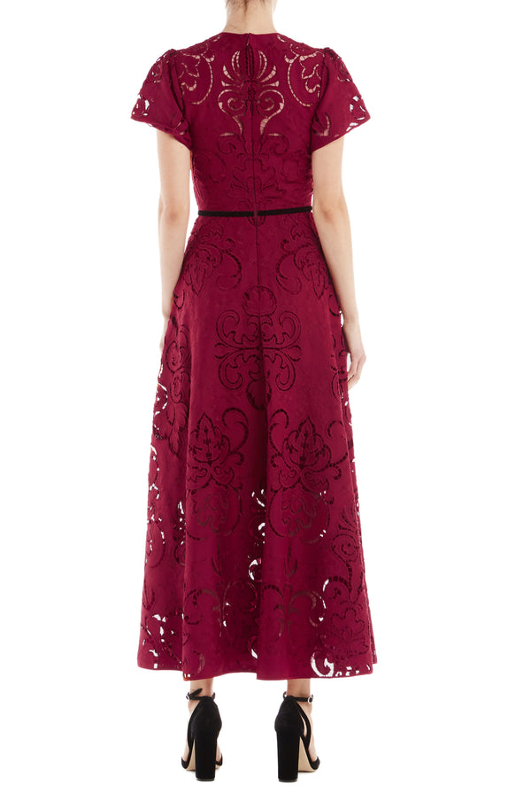 ML Monique Lhuillier Short Sleeve Midi Dress