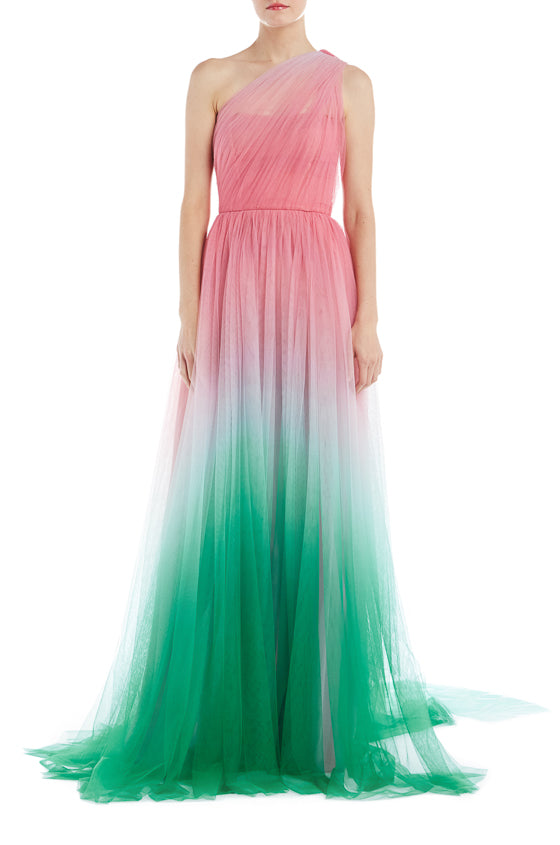 One Shoulder Emerald Magenta Evening Gown